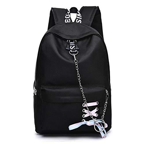 VICTOE Moda coreana impermeable nylon señoras mochila color sólido bolso simple chica colgante cadena cinta mochila, Black, 33cm*42cm*13cm, Mochila de a diario