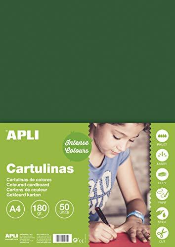 APLI 14246 - Cartulina verde oscuro A4 170 g 50 hojas