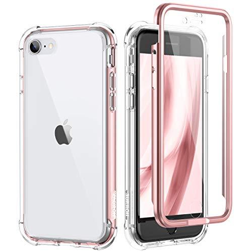 SURITCH Custodia iPhone SE 2020 iPhone 7 iPhone 8 Trasparente Cover Antiurto 360 Gradi [Ultra Hybrid] Silicone TPU Bumper e PC Pannello Posteriore, Protezione Totale per iPhone SE 2020 4.7''(oro rosa)