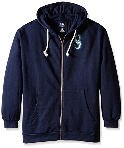 MLB Seattle Mariners Women's Plus Size Zip Hood with Logo, 2X, Navy