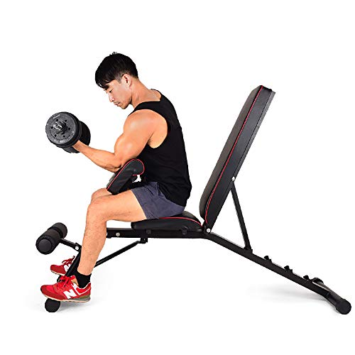DlandHome Multifunktions Klappbare Hantelbank Training Fitness Bank mit Verstellbarer Sitz- und Rückenlehne variabel negativ/flach, bis 270 kg belastbar, Schwarz