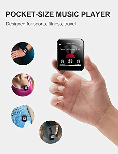 MP3 Player with Bluetooth,Portable Clip MP3 Player with FM Radio Wired Earbuds,Music Player with Touch Full Screen,Voice Recorder,Video Play,Wrist Belt, Mini MP3 Player Bluetooth for Running Workout 6