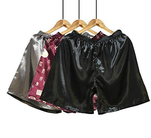Wantschun  Herren Satin Silk Unterwäsche Nachtwäsche Boxershorts Unterhosen Pyjama Bottom Shorts Pants Hose, S, 3-pack:schwarz+design E+grau
