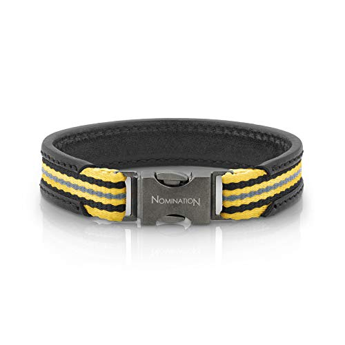Nomination Large Black Leather Cruise Bracelet for Men with Yellow Black Yellow Gray Cotton