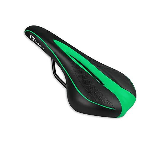 Tiekoun Bicycle Seat PVC Leather Breathable Comfortable Saddle Bicycle Saddle Ergonomics Design for Mountain Bikes,Road Bikes, Green (seat002)