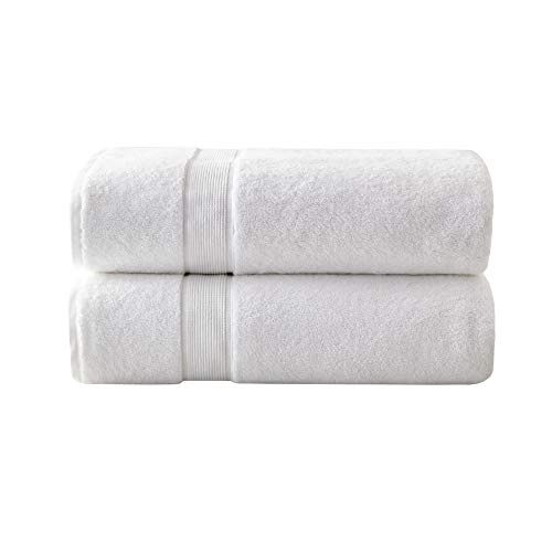 """MADISON PARK SIGNATURE 800GSM 100% Cotton Luxurious Bath Towel Set Highly Absorbent, Quick Dry, Hotel & Spa Quality for Bathroom, 34"""" x 68"""", White 2 Piece"""