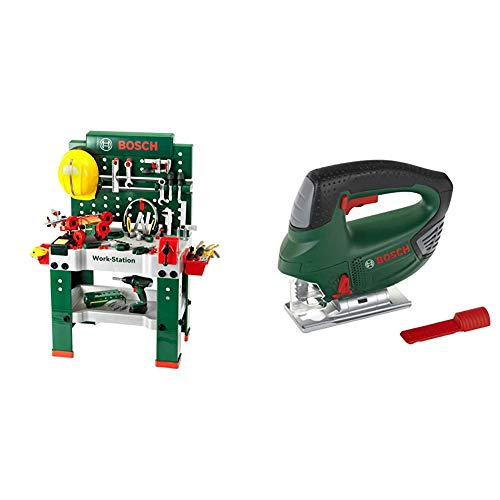 Theo Klein 8485 Bosch Workbench No. 1 I 150 Parts & 8379 Bosch Jigsaw I Battery-Powered with up-and-Down Jigsaw Motion, Light and Sound Effects I Dimensions: 14.5 cm x 17 cm x 5 cm