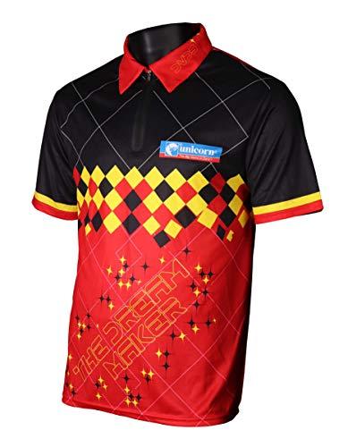 Unicorn Darts Herren Offizielles 2019 Dimitri Van Den Bergh Shirt XL Schwarz/Rot/Gelb