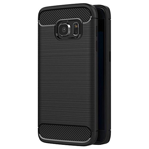 Hoesje voor Samsung Galaxy S7 Edge (5,5 inch Scherm) Geborsteld Koolstofvezel TPU Schokbestendige Antislip Zachte Beschermende Case (Zwart)