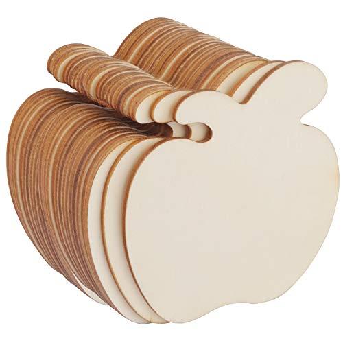 Unbehandeltes Holz (24 Stück) - (9 x 8,6 x 0,2 cm) Holzscheiben Natur in Apfel Form fur Party Dekoration, DIY Projekte, Basteln, Geschenke, Anhänger, Hochzeit, Tischdeko - Holz Scheiben Blanko Apfel