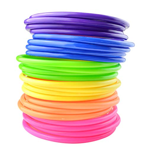Topbuti 24 Pcs Multicolor Plastic Toss Rings Kids Ring Toss Game Carnival Rings for Speed and Agility Practice Games, Garden Backyard Outdoor Games, Bridal Shower Game, Game Booth