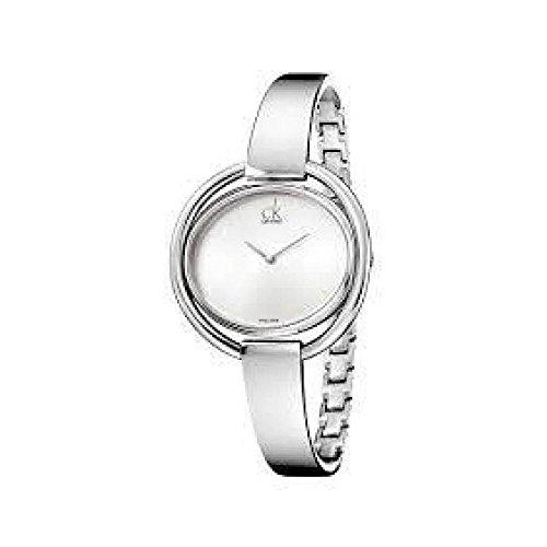 Calvin Klein Damen-Uhren Oval Analog Quarz One Size Silber Edelstahl 32002224