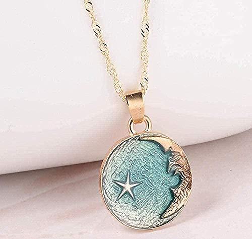 LKLFC Collar Romántico Cuerpo Celeste Cielo Luna Estrella Colgante de suspensión Collar Mujer Accesorios de joyería Collar Colgante Regalo para Mujeres Hombres Niñas Niños