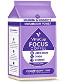 VitaCup Focus Ground Mushroom Coffee with Lions Mane, Chaga, & Vitamins B1, B5, B6, B9, B12, D3 for Immune Support & Focus, Drip Coffee Brewers and French Press, 10 Ounces