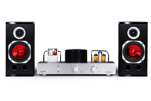 Fatman iTube ValveDock Red-i für iPod, mit Lautsprecherpaar - Röhrenverstärker mit integriertem iPod Dock