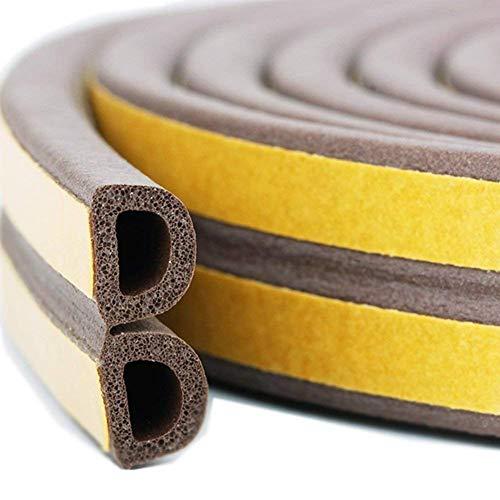 『TideMC 隙間テープ スキ用テープ 埋める 気密 窓 ドア 隙間 すきま パッキン 防音 防風 防虫 D型 (5M ブラウン)』のトップ画像