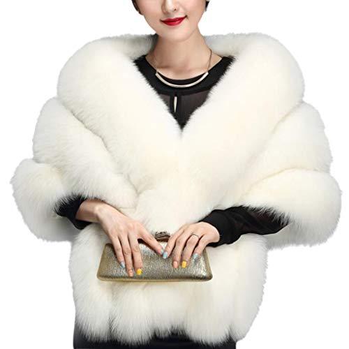 Kamonda Cachecol feminino de pele sintética para o inverno, gola V, estola, capa de noiva, xale de inverno, branco