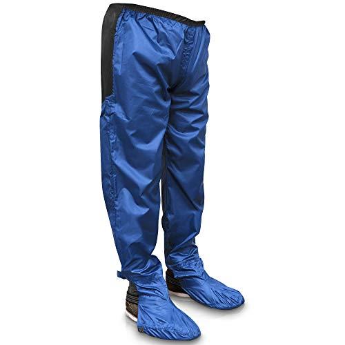 Rainrider Regenhose für Damen und Herren (royal Blue, L) wasserdicht inkl. abnehmbare Schuhüberzieher, Regenfeste Fahrradbekleidung geeignet zum Wandern, Angeln oder als Gartenhose