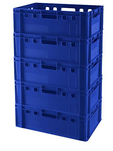 5 Stück E2 Kisten 60x40x20 Fleischkiste Lagerkiste Metzgerkiste in blau