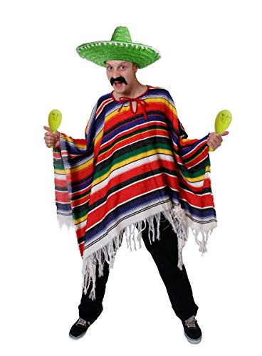 ILOVEFANCYDRESS Poncho Mexicano MULTICOLORIDO para Adultos con Sombrero Verde Y Maracas Amarillas