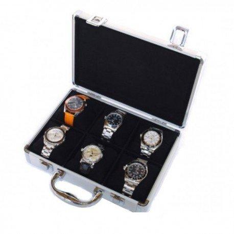 Vitrine 6 horloges aluminium model WCALU6