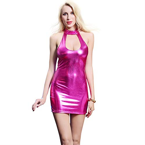 JYCDD Black Sexy Woman Mirror Leather Clothing Lingerie Shine Patent Leather Jumpsuit Pole Dance Nightclub Uniform Temptation Clubwear Pajamas,Pink,XXL