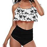 LuckyGirls Maillot de bain Taille Haute Bandeau Push Up Rembourré Licou Bustier sans Dos 2 Pièces Bikini Trikini Femme Tankini Tanga Mayo de Bain Traverser Maillot de Piscine Deux Pièces(Noir,S)