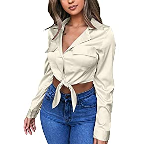 GOBLES Womens Sexy Long Sleeve Blouses V Neck Tie Knot Tops Button Up Shirts Beige
