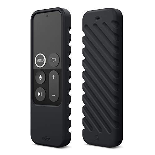 elago R3 Fernbedienung Hülle Case Kompatibel mit Apple TV Siri Remote 4K (5.) / 4. Generation Schutzhülle - Extra Schutz, Handgelenkschlaufe Inbegriffen (Schwarz)