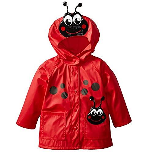 Chubasquero con capucha impermeable para niños y niñas, rosso, 4-5 años