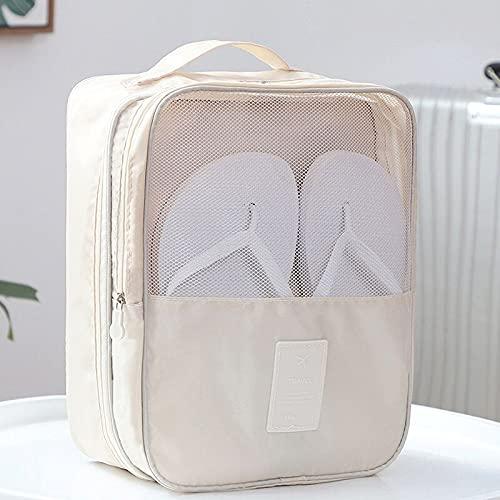 juntao Tragbare Reise-Schuhtasche Unterwäsche Kleidung Taschen Schuhe Organizer Aufbewahrungstasche Multifunktions Reisezubehör (Farbe: Beige)