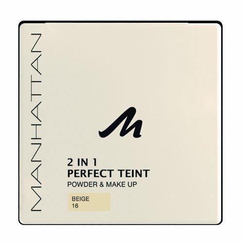 Manhattan 2 in 1 Perfect Teint Powder – Puder und Make-up in einem für einen absolut ebenmäßigen Teint – Farbe Beige 16 – 1 x 9g