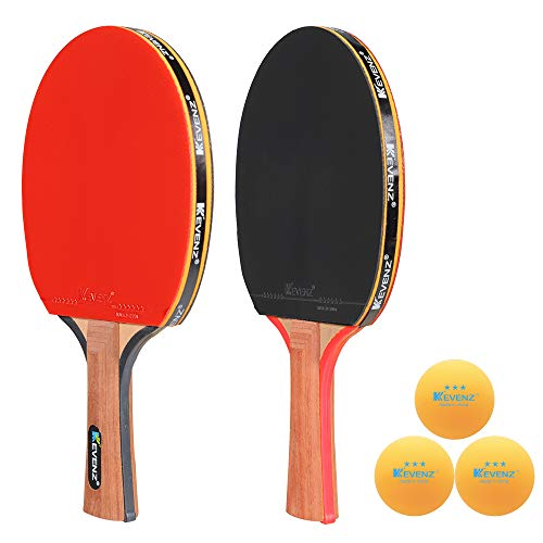 KEVENZ 2-Pack Patent Advanced Table Tennis Racket Come with Anti-Skid Handle, Wooden Blade Surrounded by Rubber