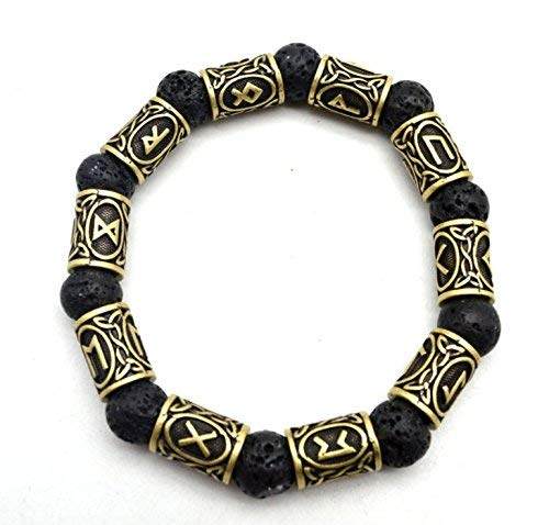 WarmShine Ladies Mens Norse Celtic Nordic Rune Talisman Bracelet Jewelry Pendant, Viking Norse Runes Volcanic Rock Bracelet (Bronze)