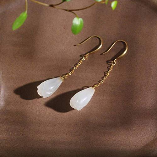 WOZUIMEI Pendientes de Oreja Aretes para Mujer Moda Urbana Mujer Hecho a Mano Oro 18K Pendientes de Magnolia de Nefrita Naturalarete