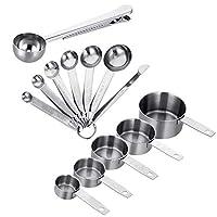 sussurro, misurino e cucchiaio in acciaio inox con righello, scoop con clip, 5 misurini, 6 cucchiai dosatori e 1 righello per ingredienti secchi e liquidi