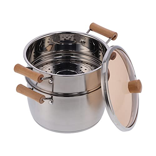 SALALIS Olla de Cocina, Utensilios de Cocina de Acero Inoxidable duraderos y Seguros con pequeños Orificios de ventilación Cubierta de Vidrio Templado Pesado para Cocina de inducción para Estufa de