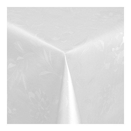 WACHSTUCH Tischdecken Wachstischdecke Gartentischdecke, Abwaschbar Meterware, Länge wählbar, Hochwertig Geprägtes Florales Design in Weiß (300-01) 110cm x 140cm