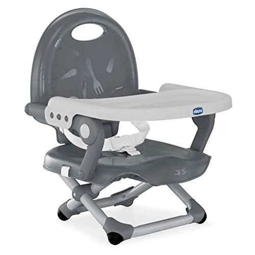 Chicco Pocket Snack - Elevador asiento de silla regulable en 3 alturas para bebés, ligero 2 kg, color gris (Dark Grey)