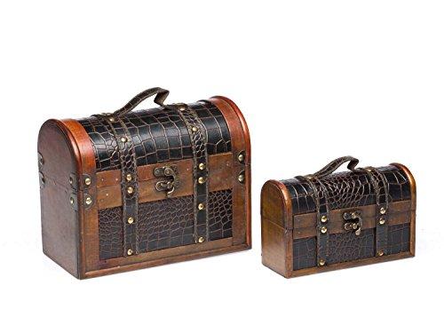 Juego de 2 maletas - Caso de madera de madera de troncos de estilo antiguo