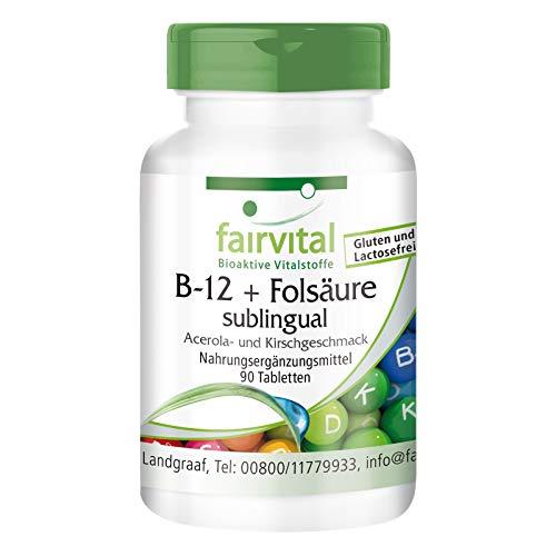 B12 tabletten met foliumzuur sublinguaal - 90 tabletten - snelle opname via het mondslijmvlies