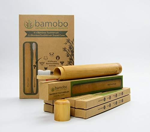 Bambus Zahnbürsten (8er Pack) mit Reise-Zahnbürsten-Bambus-Hülle - Umweltfreundliche Zahnburste Holz BPA Frei - Zahnbürsten Etui - Reiseetui - öko Holzzahnbürste Mittel