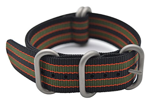 ArtStyle Watch Band with Colorful Nylon Material Strap and Heavy Duty Brushed Buckle (Black/Orange/Green, 22mm)