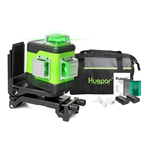Huepar 503CG 3X 360 Laser Level Green + Pulse Mode, 0.2mm Pro Accuracy, Switchable 3D Cross Line Self Leveling 12 Lines, 360 Vertical/Horizontal Lines Laser, USB Rechargeable, 2 Li-Batteries Included
