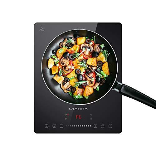 CIARRA CBTIH1 Einzelinduktionskochplatte 2000W mit Touchscreen, LED-Player, Induktionskochfeldplatte mit 8-Hebel-Leistung und 8-Temperatur, Timer-Kochfeld, Sicherheitsschloss
