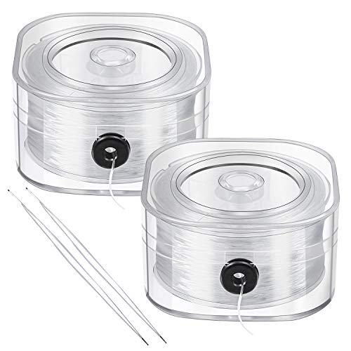 URATOT 2 Roll Elastic String Crystal String Jewelry Cord 0.8 mm Clear Stretchy Bracelet Crystal Beading Thread with 2 Threading Needles for Bracelet, Beading and Jewelry Making