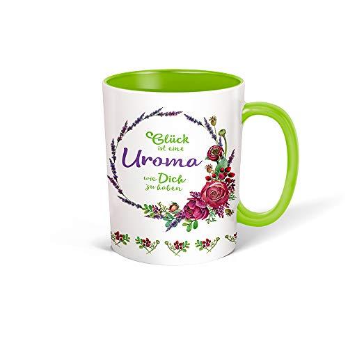 Trötsch Tasse Kranz Uroma weiß grün: Kaffeetasse Teetasse Geschenkidee Geschenk (Keramiktasse / Blumenkranz)