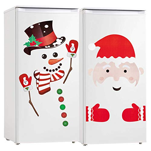 Christmas Refrigerator Decorations Reflective Santa Snowman Magnets Xmas Holiday Garage Fridge Kitchen Cute Funny Decor