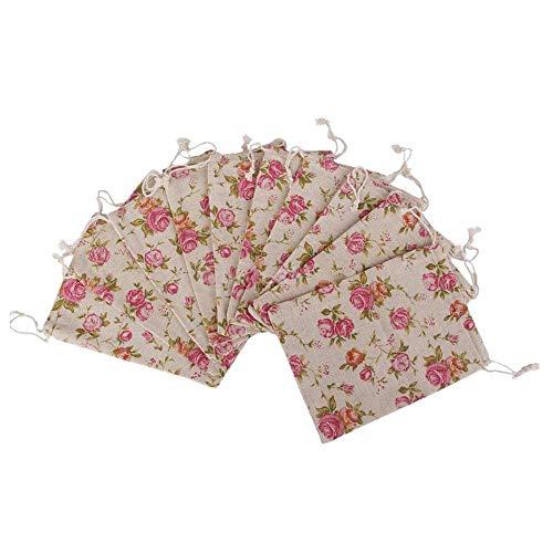 N-K Weinlese-Leinwand-Beutel-Rosa-Rosen-Muster Drawstring-Beutel-Schmuck-Tasche für Speicher-Schmuck-Gebrauch 10PCS stilvoll und populär Gut aussehend