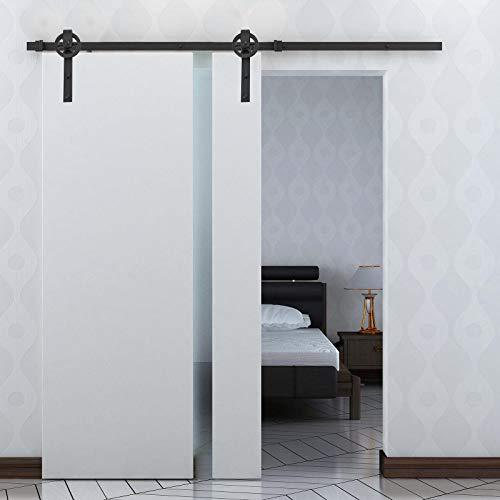HOMCOM Herraje Puerta Corredera 200 cm Kit de Rieles Deslizantes para Puerta de Granero de Madera Acero al Carbono Baño Cocina Dormitorio Negro